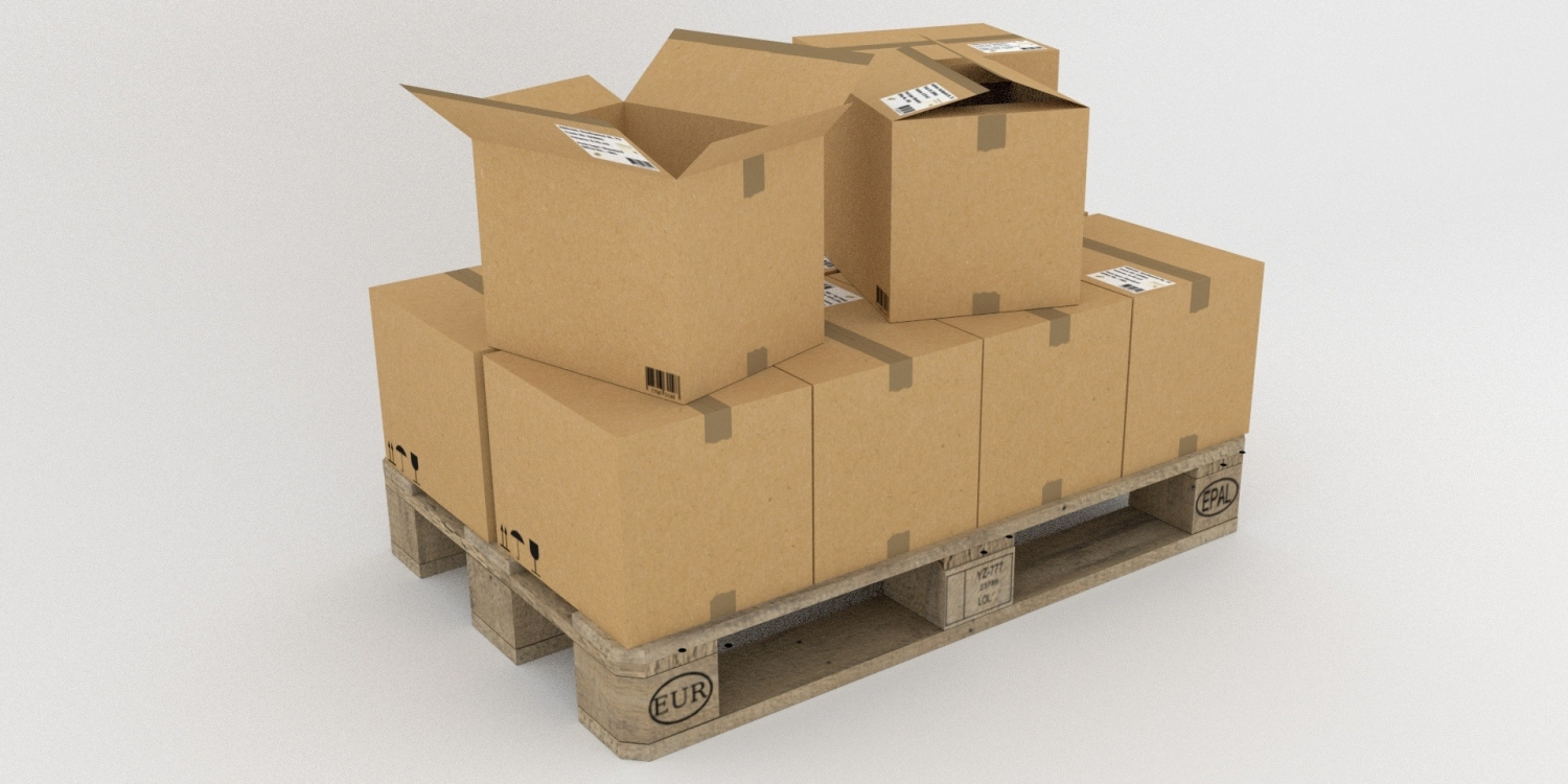 Cardboard boxes carefully stacked on a pallet