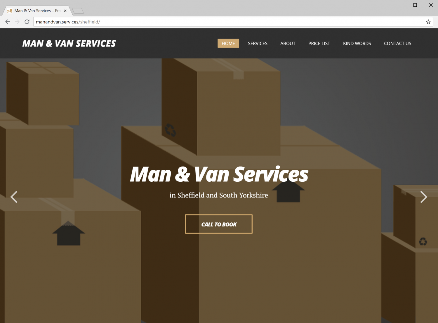 Man and Van Services Sheffield Website (home page screenshot)
